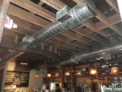 Ducts in the ceiling